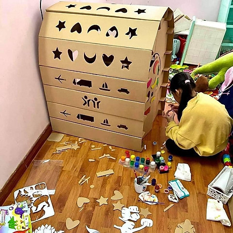 Nhà bìa đồ chơi - Nhà giấy vòm carton 100% bột gỗ - Ngôi nhà bóng cho bé thỏa sức vui chơi [ trẻ em dưới 12 tuổi] 2