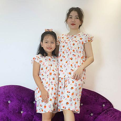 Bộ mặc nhà vải tole lanh tay cánh tiên thoáng mát cho mẹ và bé gái 2