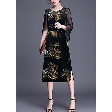 Đầm Suông BigSize In Hoa Lá Kiểu Đầm Suông Trung Niên Dự Tiệc Size Lớn ROMI 3269 3