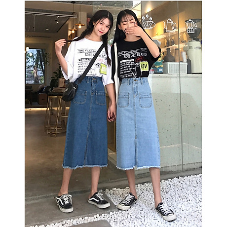 Chân váy JEAN nữ dáng dài dễ thương - CV09 8