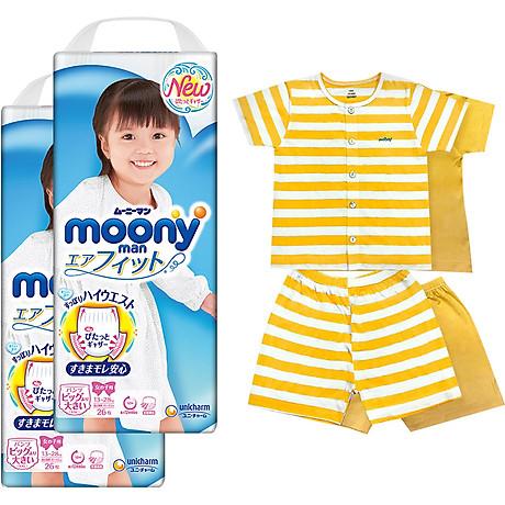 Bộ 2 tã quần cao cấp bé gái Moony XXL26 [Tặng bộ quần áo Nous 18-24m] 1