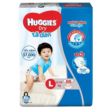 Tã Dán Huggies Dry Gói Cực Đại L68 (68 Miếng) - Bao Bì Mới 2