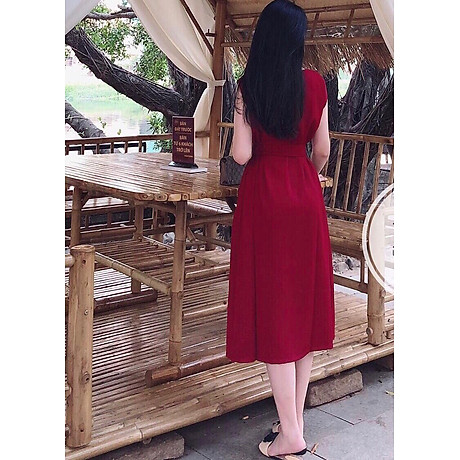 Đầm đỏ tay con 4