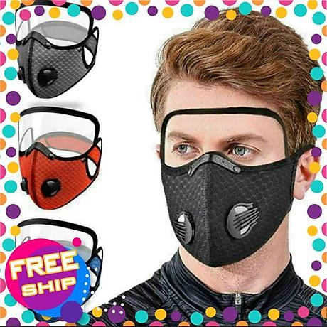 Mặt nạ thể thao gồm Khẩu trang vải Nano kháng khuẩn có 2 van thở kèm kính bảo hộ che mặt tháo lắp đa năng 2