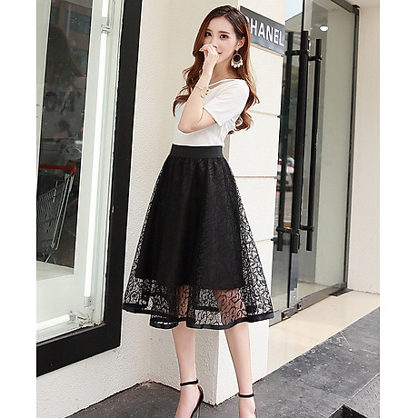 Chân váy ren dáng xòe 2 lớp dày đẹp thời trang Hàn Quốc DVCV18 2