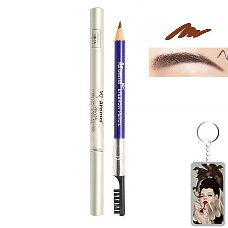Chì vẽ mày sắc nét Aroma Eyebrow Pencil Hàn Quốc No.33 Brown tặng kèm móc khoá 1