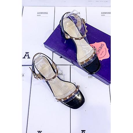 Giày Sandal Cao Gót 5p Quai Trong Đính Đinh 4