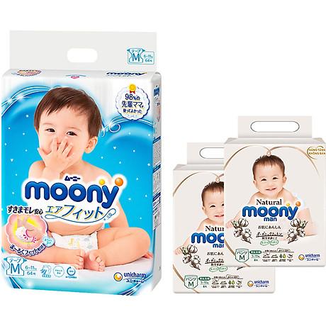 Tã Dán Cao Cấp Moony Nhật Bản M64 - [Tặng 8 Miếng Moony Natural Cùng Size] 1