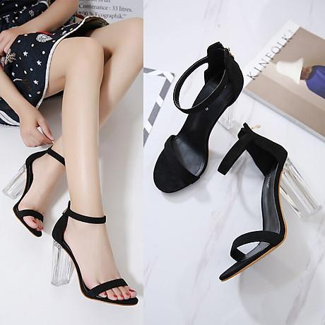 Giày Cao Gót Nữ Màu Đen Da Nhung Mịn Cao Cấp Gót Trong Suốt Tôn Dáng Đẹp CTCGQ8010 8