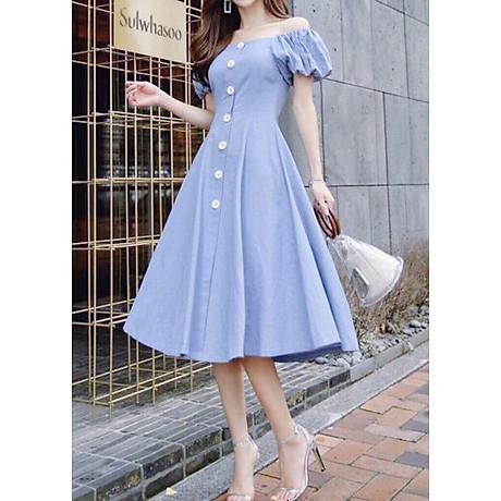 Đầm mila xanh nút trắng form dài 1