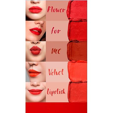 Son Lì Lâu Trôi (màu Đỏ) No 2_Javin De Seoul Flower For Me Velvet Lipstick 2 (Classic Red) 5