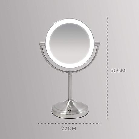 Gương trang điểm 2 mặt USA kèm đèn led điều chỉnh độ sáng HoMedics MIR-8150-EU ,đường kính lớn ,chất liệu Niken cao cấp nhập khẩu USA 6