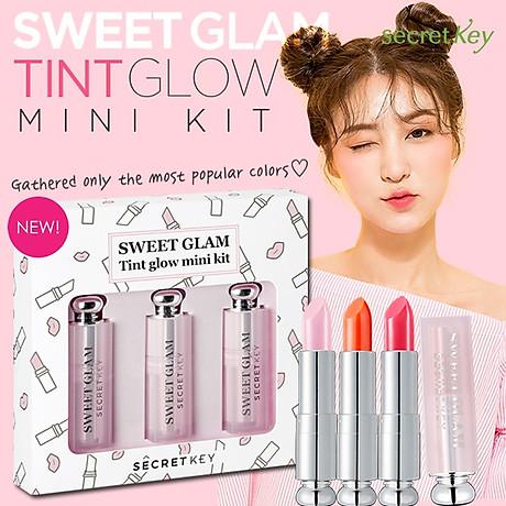 Set 3 son dưỡng môi có màu mini Secret Key Sweet Glam Tint Glow - Mini Kit (Baby Pink, Juicy Orange, Punky Pink) 4