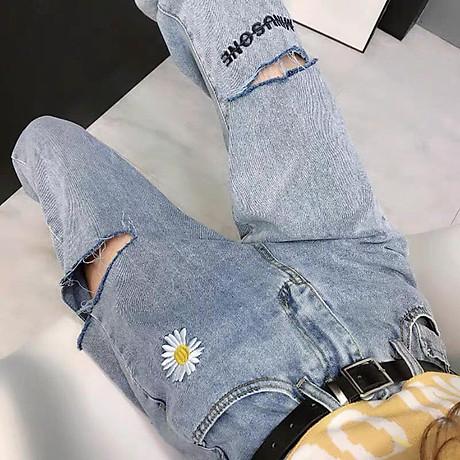 quần baggy jean nữ, quần bò nữ thêu hoa 2