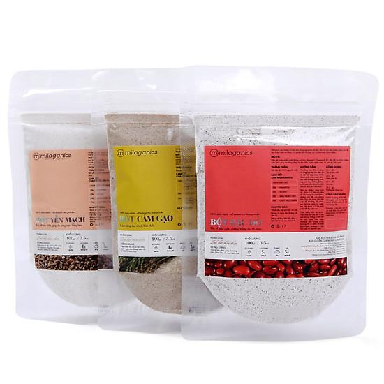 Combo 3 gói bột cám gạo, yến mạch và đậu đỏ thiên nhiên Milaganics (100g/gói)