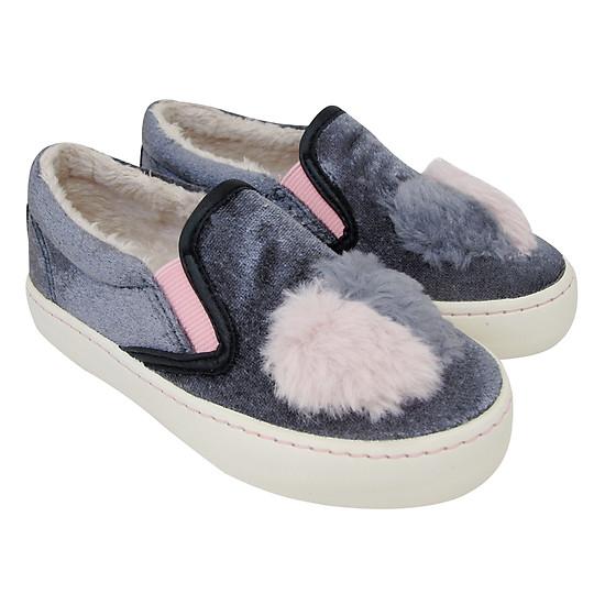 Giày Slip On Bé Gái Nomnom NG1604 – Nhung Ghi