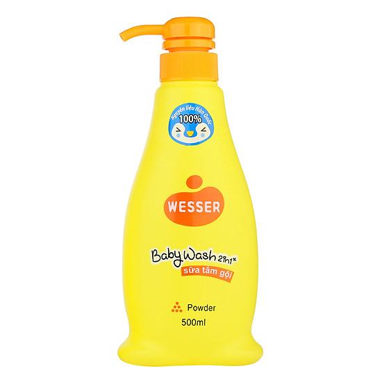 Kết quả hình ảnh cho Sữa tắm gội cho bé Wesser 2in1 hương phấn 500ml