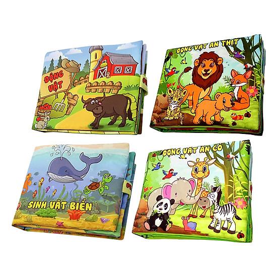 Bộ 4 Sách Vải Pipovietnam (Sinh Vật Biển - Động Vật Ăn Cỏ - Ăn Thịt - Động Vật Nuôi)