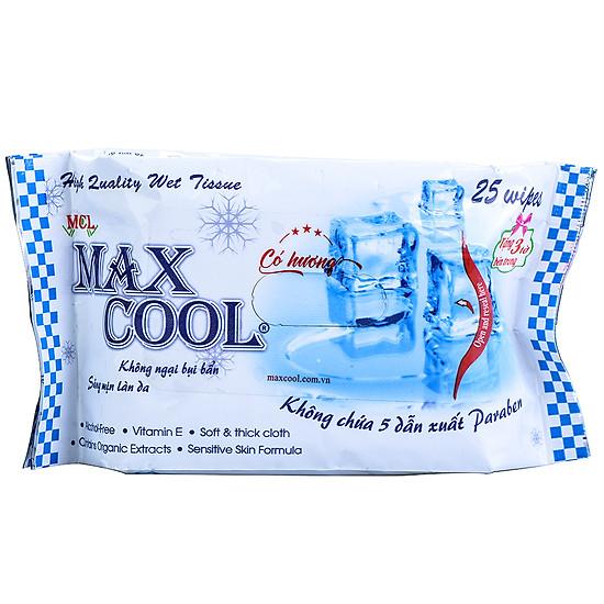 Kết quả hình ảnh cho KHĂN ƯỚT MAX COOL 25 TỜ CÓ HƯƠNG