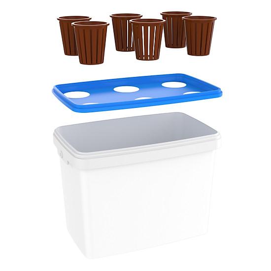 Bộ 10 thùng (60 rọ) trồng thủy canh rau ăn lá - Hợp Trí Growbox Leafy Kit 10