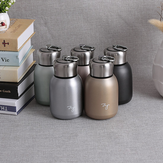 Water Bottle Stainless Steel Matte Vacuum Insulated Small Water Bottle for Kid Lid with Hook - Rose Gold - 300ML-1
