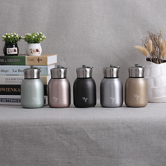 Water Bottle Stainless Steel Matte Vacuum Insulated Small Water Bottle for Kid Lid with Hook - Rose Gold - 300ML-2
