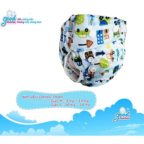 Bỉm vải Goodmama siêu chống tràn màu xanh hình gấu-1