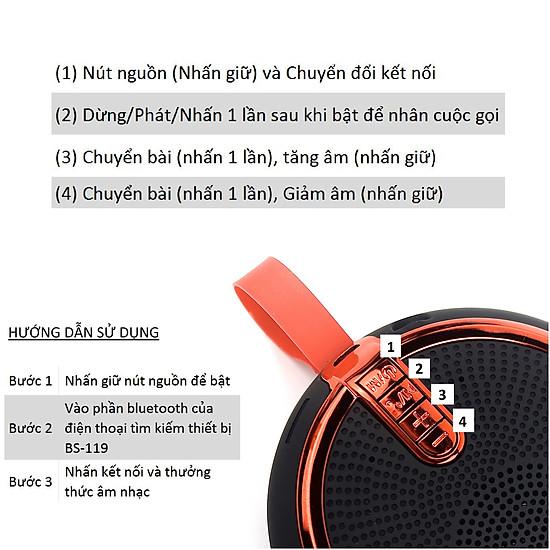 Loa Bluetooth Cầm Tay Nghe Nhạc Mini GUTEK BS-119 Đa Năng – Hỗ Trợ Kết Nối Thẻ Nhớ Và Cổng 3.5 – Nghe Nhạc Cực Hay - Hàng chính hãng - Xanh dương-2
