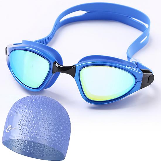 Kính bơi nam Cleacco tráng gương, chống tia UV tặng nói bơi Cleacco silicone, dây đeo điều chỉnh độ rộng, màu sắc thời trang, thích hợp cho vận động viên hoăc phục vụ cho việc bơi hằng ngày- Hàng Chính Hãng