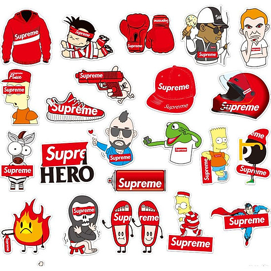 Bộ 50 Miếng Dán Sticker Supreme Hoạt Hình=95.000 ₫