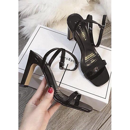Giày Sandal Quai Da Cao Gót 9cm