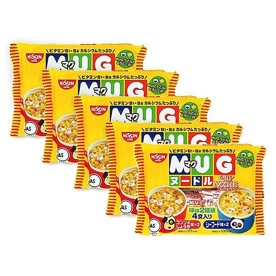 Combo 5 gói Mì ăn dặm cho trẻ trên 1 tuổi Nissin MUG Cup Noodle 96g (4 gói nhỏ bên trong,