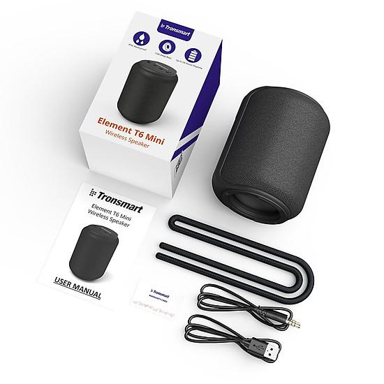 Loa Bluetooth Tronsmart Element T6 Mini Loa Bluetooth 5.0 ngoài trời chống thấm nước IPX6 15W - Hàng Chính Hãng - Đen-1