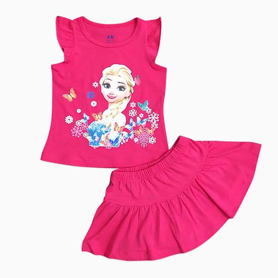 Hình đại diện sản phẩm Đồ Bộ Bé Gái Elsa Chân Váy Vinakids VD74144 - Hồng Đào