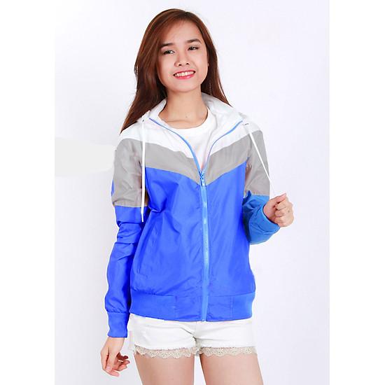 Áo khoác gió nữ phối 3 màu thời trang, vải dù nhẹ, chống nắng, đi mưa, cản gió tốt