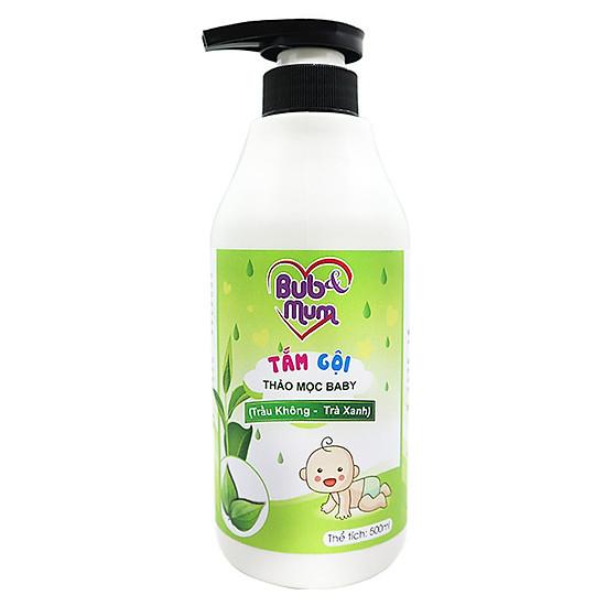 Tắm gội Thảo mộc Baby chiết xuất Trầu Không và Trà Xanh 500ml BuB&MuM công dụng diệt khuẩ