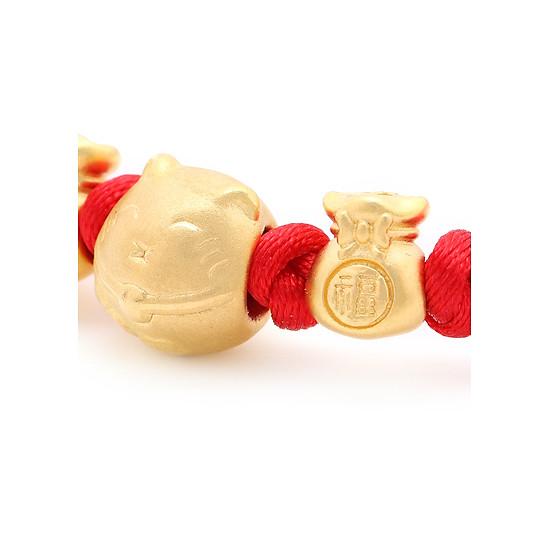 Vòng Tay Handmade Vàng 24K Mèo Thần Tài Phối Túi Tiền - ANCARAT