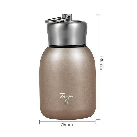 Water Bottle Stainless Steel Matte Vacuum Insulated Small Water Bottle for Kid Lid with Hook - Rose Gold - 300ML-4