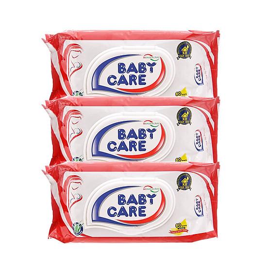 Combo 3 Gói Khăn Ướt Baby Care 80 Tờ – Hương Phấn Dịu Nhẹ, Tinh Chất Lô Hội Dưỡng Da</spa