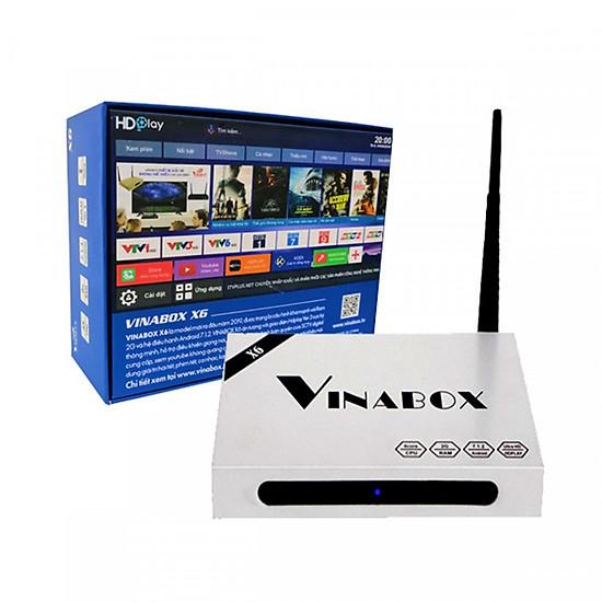 Android TV Box Vinabox X6 - Điều khiển bằng giọng nói, Ram 2Gb, model 2019 (Tặng kèm cáp OTG Ugreen và chuột không dây Foter V181)
