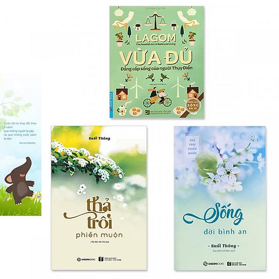 """Combo 3 cuốn sách """"Sống Đời Bình An"""": Lagom - Vừa Đủ - Đẳng Cấp Sống Của Người Thụy Điển, Thả Trôi Phiền Muộn,  Sống Đời Bình An (Tặng kèm bookmark danh ngôn hình voi)"""