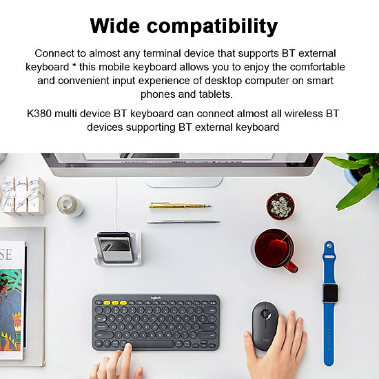 Logitech K380 Wireless BT Keyboard Multi-device Pairing Compatible with macOS Computers iPads iPhones - Grey-1