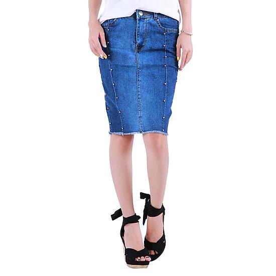 Hình đại diện sản phẩm Chân Váy Jean Nữ Body Đính Hạt Ngang Gối Xinh Yêu CV001 Miha Fashion - Xanh