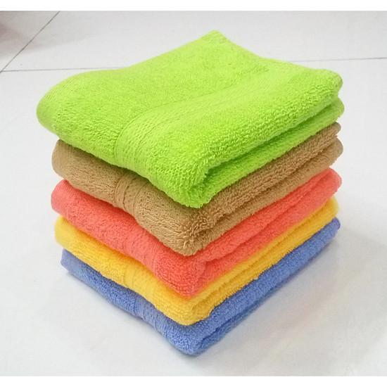 Bộ 5 khăn mặt cotton dày 2 mặt lông KT 30x48cm (Giao nhiều màu)