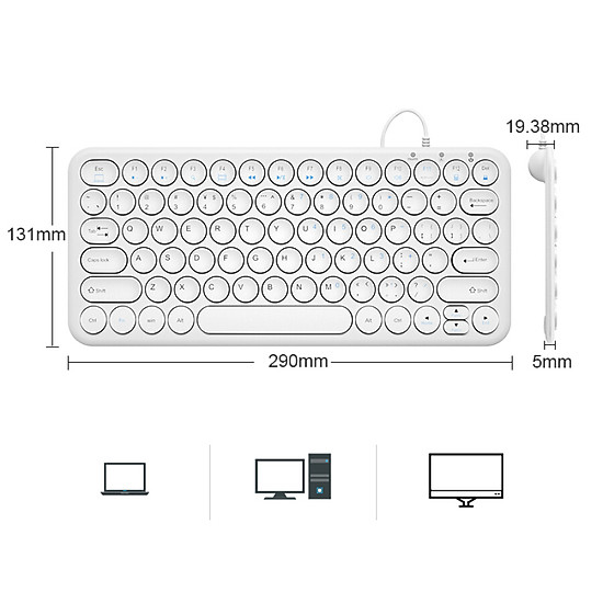 (BOW)HW098S-A mute round concave key ultra-thin wired keyboard office notebook portable USB keypad white-1
