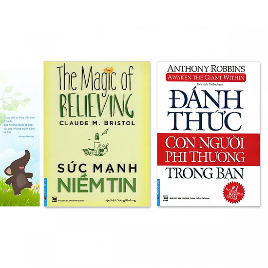 Combo 2 cuốn: Đánh Thức Con Người Phi Thường Trong Bạn, Sức Mạnh Niềm Tin + bookmark danh ngôn hình voi