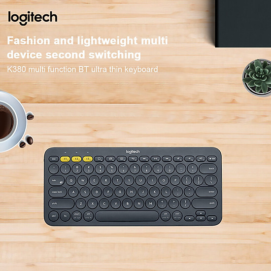 Logitech K380 Wireless BT Keyboard Multi-device Pairing Compatible with macOS Computers iPads iPhones - Grey-0