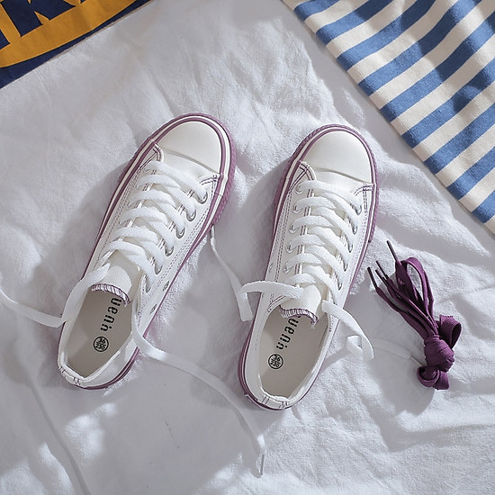 IELGY Hong Kong wind canvas shoes female Korean version of Harajuku retro wild flat white shoes - purple - 37-2