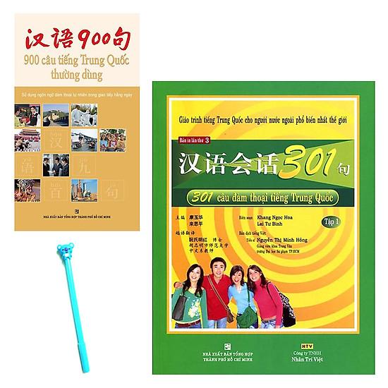 Combo 301 Câu Đàm Thoại Tiếng Trung Quốc – Tập 1 (Kèm CD) và 900 Câu Tiếng Trung Quốc Thường Dùng (Không Kèm CD) ( Tặng Kèm Viết )