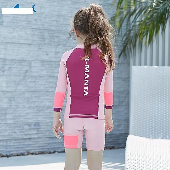Bộ bơi tím hồng dài tay quần cộc (2 - 10 tuổi)